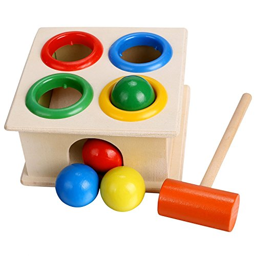 Baby Colorful Wood Hammering Ball + Hammer Box Children Early Educational Toys