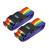 B-black® Cinghie per Valigie Bagagli - 2 Pz Valigia di Cintura Cinghia Regolabile Cintura di Sicurezza con Codice Combinazione