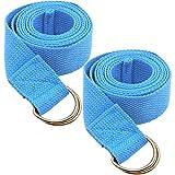 Tavie 2X Cinturino da Yoga per Flessibilità di Fitness Esercizio di Stretching Pilates Cinghie Cinture, Posizioni di Posa, Terapia Fisica, 183 cm x 3,8 cm, Blu