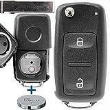 Auto Llave Mando a Distancia 1 x Carcasa 2 Botones + 1 x en Blanco + 1 x CR2032 Batería para Volkswagen Amarok T5 T6