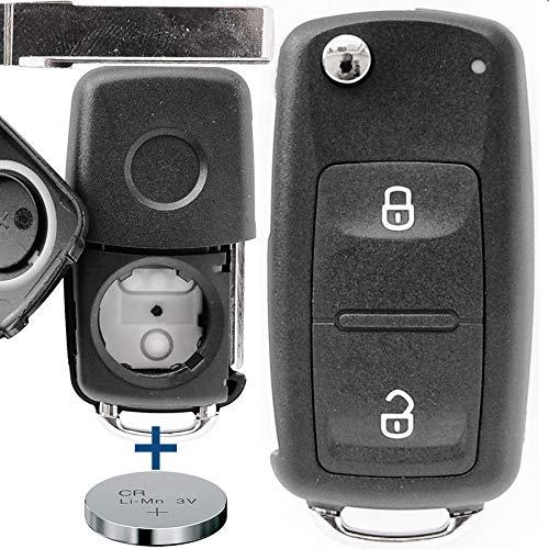 Auto Schlüssel Funk Fernbedienung 1x Gehäuse 2 Tasten + 1x Rohling + 1x CR2032 Batterie kompatibel mit VW Amarok T5 T6