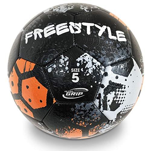 Mondo- Italia Toys-Pallone da Calcio Cucito Freestyle Tyre-Size 5-400 g nero/grigio/arancione-13862, Colore Nero/Grigio/Arancione, 13862