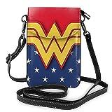 Hdadwy Wonder Woman Phone Purse Bolsos cruzados para mujer Bolsos livianos Monedero para mujer Funda de cuero para teléfono móvil Estuche para billetera Bolsos de hombro Correa de hombro extraíble Mod