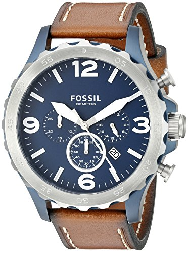 Fossil Men's Nate Quartz Leather Chronograph Watch, Color: Silver/Blue, Brown (Model: JR1504)