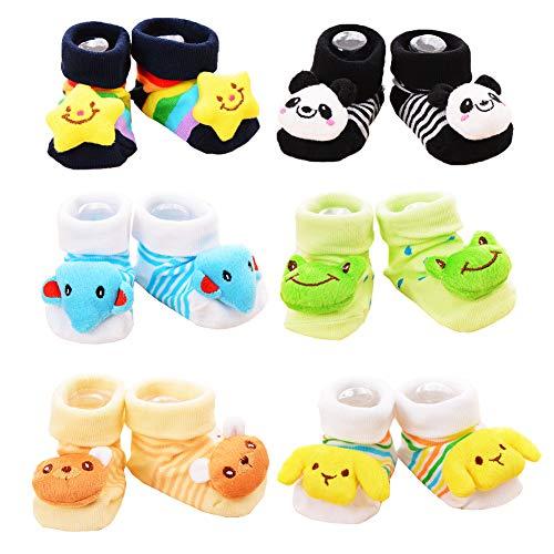 Z-Chen 6er Pack Rutschfeste Socken für Babys 3D Tier Motive, Set A, 9-18 Monate