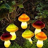 ALLOMN Luces Solares, Camino de Jardín al Aire Libre Luces de lámpara Decorativas Luces de Paisaje Solar Impermeable Forma linda de Multicolores Seta, Dos Modos de luz, Conjunto de 6 Lámparas