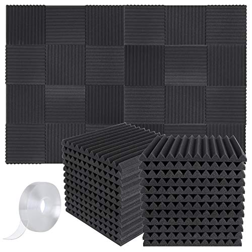 "Focusound 48 Packs Acoustic Foam Panels Wedge Soundproof Studio Wall Tiles Sound Absorbing with Double Side Adhesive Tape, 1"" X 12"" X 12"""