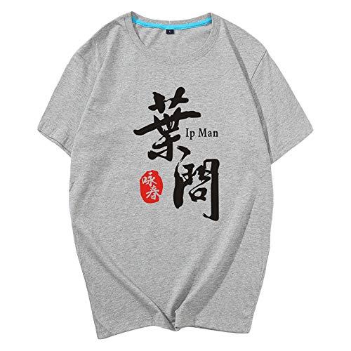 ZooBoo Chinese IP Man T-Shirt - Wing Chun Short-Sleeved Costume Martial Arts Shirt - Cotton (Gray, XL)