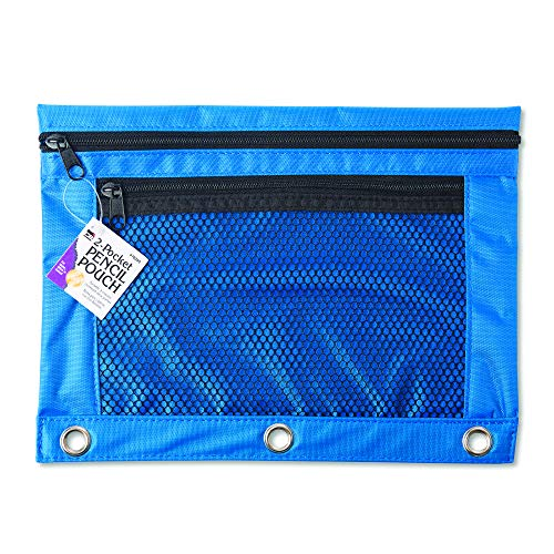 Charles Leonard Pencil Pouch for Binder with 2 Pockets, Front Mesh Pocket, Assorted Colors