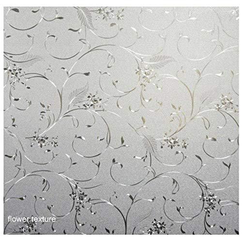 Glasstickers Mat ondoorzichtig Badkamer Home Decor Zelf Slaapkamer Woonkamer Breed 45cm raam Privacybescherming Lang 1m, bloemtextuur