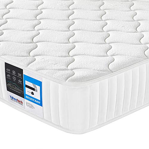 Yaheetech Double Mattress 4FT6, Pocket Sprung 8.7 inch Mattress with Memory Foam and Tencel Cover Medium Firm, Mite-Free Mattress White 135x190cm