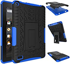 NOKEA Heavy Duty High Impact Resistant Armor Protection Cover Anti Slip Kickstand Feature Skin Case Work with Fire 7 Tablet with Alexa (7th Generation, 2017 Release)(Blue)