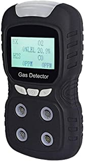 Portable Gas Detector, Gas Clip 4-Gas Monitor Meter Tester Analyzer, Rechargeable LCD Display Sound Light Shock Air Quality Tester, 2-Year Detector
