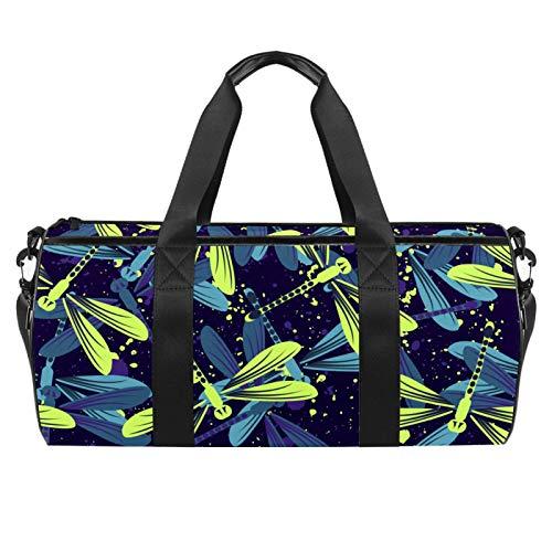 LAZEN Hombro Handy Sports Gym Bags Travel Duffle Totes Bag para hombres mujeres coloridas libélulas brillantes