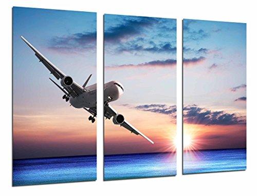 Poster Fotográfico Avion de Pasajeros en el Cielo, Atardcer en el Mar Tamaño total: 97 x 62 cm XXL, Multicolor