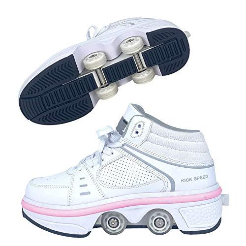 Zjcpow Roller Skates Dytxe for Niños, Quad Patines con 7 Luces del Color Parkour Zapatos al Aire Libre Deformación Patines Diversión de luz for Las Muchachas y señoras xuwuhz (Size : 38)