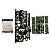 Auoeer Conjunto de Combo de Placa Base X79-P3 LGA2011 con E5 1650 V2 CPU 4x8GB 32GB DDR3 RAM 4-CH 1600MHz Reg ECC NGFF M.2 SSD Slot
