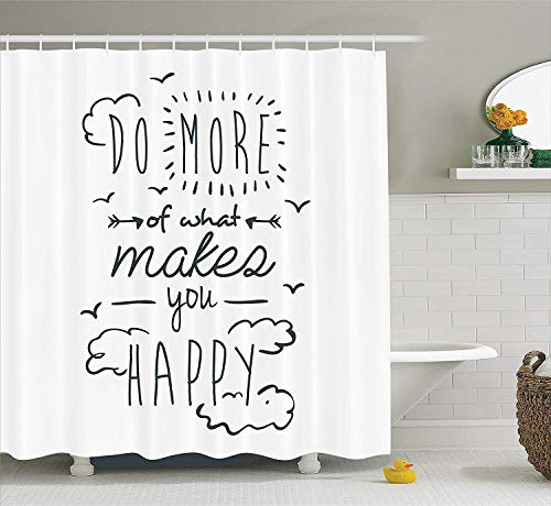Presock Funny Duschvorhänge Inspirational Quotes Decor, Do More of What Makes You Happy Clouds Achievement Attitude Positivity Image, Polyester Fabric Bathroom Set with Hooks, Black and White