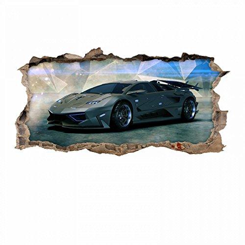 nikima - 106 Wandtattoo Sportwagen schwarz - Loch in der Wand - in 6 Größen - wunderschöne Kinderzimmer Sticker und Aufkleber Coole Wanddeko Wandbild Junge Mädchen Größe 1000 x 500 mm