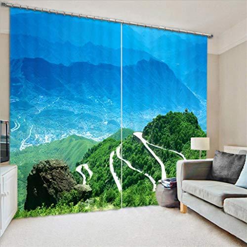 xmydeshoop Vorhang Blickdicht - 3D Druck Serpentine - Ösenvorhänge - Wärmeisolierte Geräuschreduzierung, 250(H) X150(B) Cmx2 Paneele/Set - Geeignet für Schlafzimmer Wohnzimmer