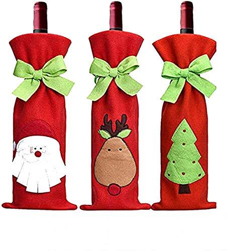 Sacs de Bouteille de vin de Noël 3Pcs, Santa Elk Tree Patterns Couvre Bouteilles De Vin Rouge, Décorations de Bouteilles parfaites pour la Table de Noël (Rouge)