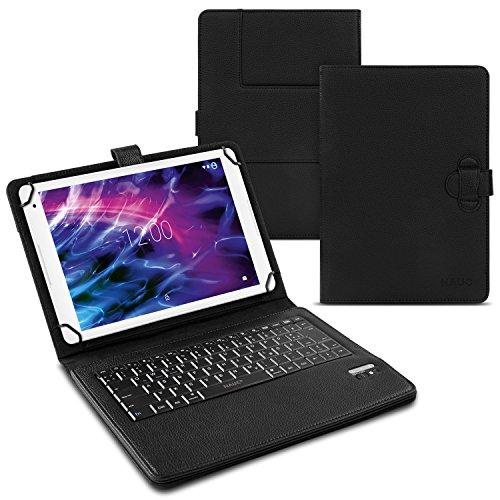 Tastatur für Medion Lifetab P10602 X10605 X10607 P9702 X10302 P10400 S10365 P10506 P10505 P10356 S10366 P10325 P10341 Tablet Schutz Hülle QWERTZ Cover Case Bluetooth NAUC®