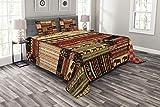 ABAKUHAUS afrikanisch Tagesdecke Set, Patchwork Stil Asiatische, Set mit Kissenbezügen Romantischer Stil, für Doppelbetten 264 x 220 cm, Rot-grün-schwarz
