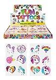 Henbrandt 24 x Girls UNICORN Temporary Tattoos Children's Birthday Party Bag Filler