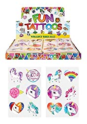 24 x Girls UNICORN Temporary Tattoos Children's Birthday Party Bag Filler Can be easily removed with soap water For Ages 3+