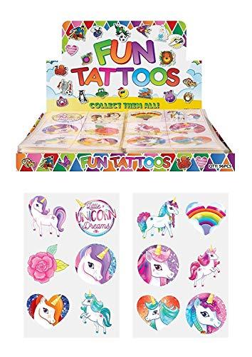 24 x Tatuajes temporales de unicornio para niñas, bolsa de regalo de cumpleaños para niños, color multicolor 1 pack