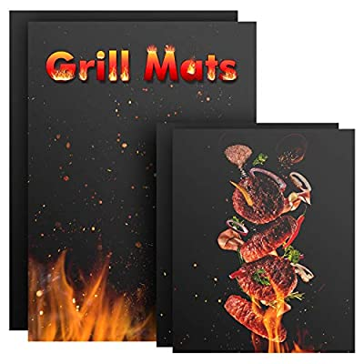 Nomeca Grill Mats Non Stick, 4 Packs BBQ Grilling Mats Teflon BBQ Accessories Grill Tools Barbecue Cooking Baking Mats, Reusable and Easy to Clean, Works for Gas, Charcoal, Electric Grill - 23x16 Inch