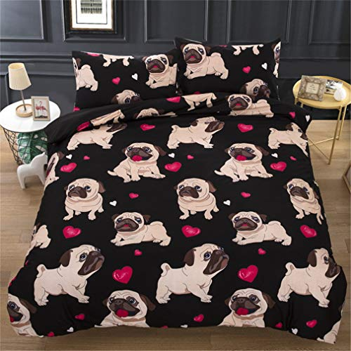 MXSS French Bulldog Duvet Cover Set Microfiber Polyester Quilt Bedding Set Double Quilt Duvet Cover And Pillow Case Bedding Set (King)