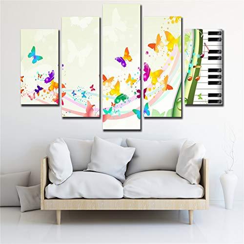 GIAOGE Schilderijen Modulaire Schilderij Gedrukt Canvas Abstract Poster 5 Panel Muziek Piano Sleutel Vlinder Art Home Decor Muurfoto's Voor Woonkamer No Frame 30x50 30x70 30x80cm