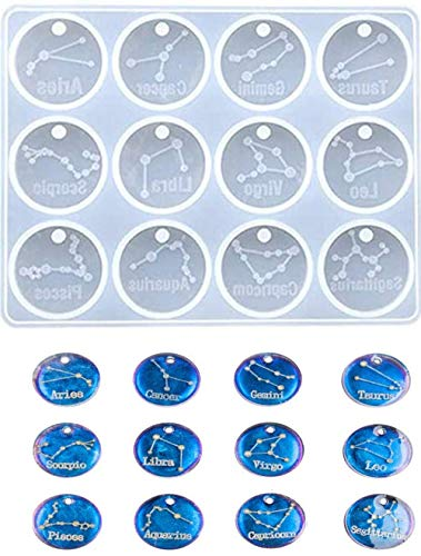Dees 12 Zodiac Constellation Resin Molds, Round Zodiac Sign Epoxy Resin Molds for Jewelry Making DIY Craft, Resin Keychains, Clay Crafts, Punch-Free.