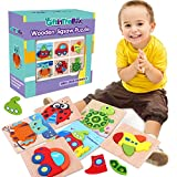 6 Pack Wooden Jigsaw Puzzles, Wooden Color Shapes Puzzles for Toddlers Ages 18 Months and up, Boys & Girls Educational Toys Gift with 3 Animals and 3 Vehicle Puzzles