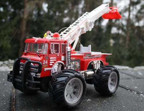RC Auto kaufen Feuerwehr Bild 2: Unbekannt RC Feuerwehrauto Fire Fighter Einsatzlicht Sirene Feuerwehr ferngesteuertes Auto mit echtem Einsatzlicht und Sirene - Hammerbeleuchtung*