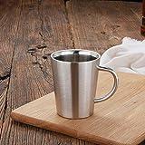QWER Taza de café de Doble Pared de Acero Inoxidable Aislamiento térmico de Taza, Color Acero