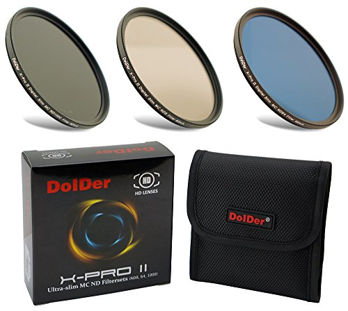 Dolder Neutral Graufilter Set bestehend aus ND8, ND64, ND1000 Filter 77mm (16 Layers) Neutral Graufilter Set, ND Filtersets Multicoated & HD inklusive Filtertasche