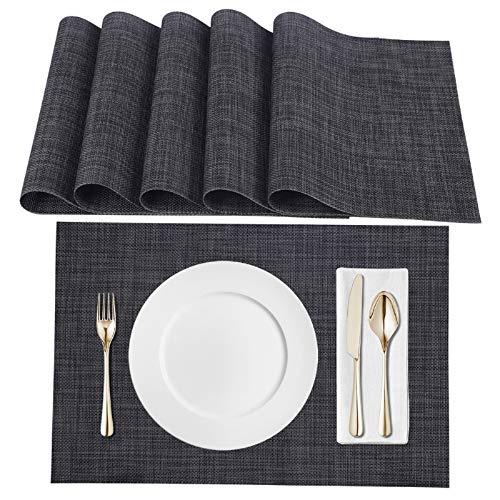 Eono by Amazon - Platzsets(6er), Tischsets PVC Hitzebeständig, Abgrifffeste Hitzebeständig Platzdeckchen Antifouling und Waschbar