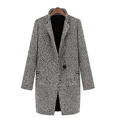 Pocciol Women Slim Winter Parka Jacket Warm Wool Lapel Long Coat Trench Parka Overcoat