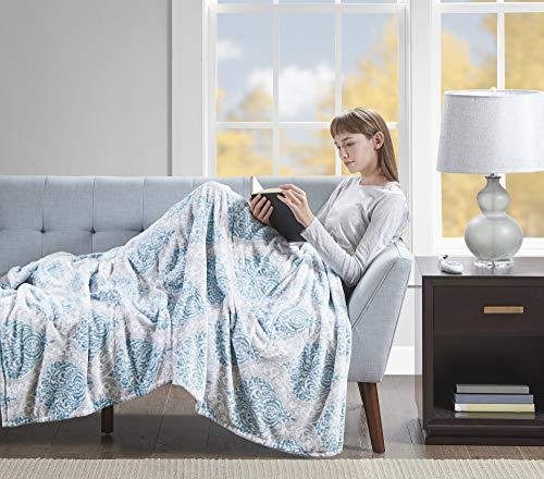 Beautyrest Senna Electric Blanket Plush Throws-Secure Comfort Technology-Oversized 60' x 70'-Damask Pattern-Cozy Soft Microlight Blankets-3-Setting Heat Controller, 60 x 70, Aqua