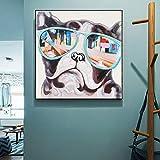 tzxdbh Cuadro en Lienzo Animal Abstracto Cuadro en Lienzo Pug Lindo con Gafas de...