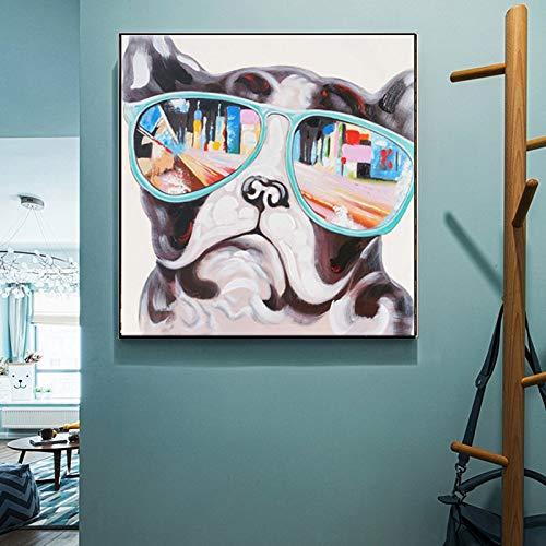tzxdbh Leinwand Malerei abstrakte Tier Leinwand Malerei niedlichen Mops mit bunten Gläsern Digital gedruckte Poster Wandmalerei für Baby-Bett in Malerei & Kalligraphie von No Frame 30x30 cm XQ-75
