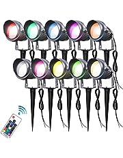 Trädgårdsbelysning 5W RGB Fjärrkontroll LED Landskapslampor 12V Lågspänning Trädgårdsbelysning med transformator, vattentät(10Pack) (Color : Colorful)