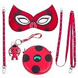 Eleasica Enfant Accessoir Masque Sac Cosplay Rouge A Pois Respirant Doux Kit De Déguisement Halloween Noël Anniversaire Carnaval Fête - Sans Costume