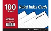 """BAZIC 100Ct。4"""" x 6""""ルールドホワイトインデックスカード、ケースパック24"""