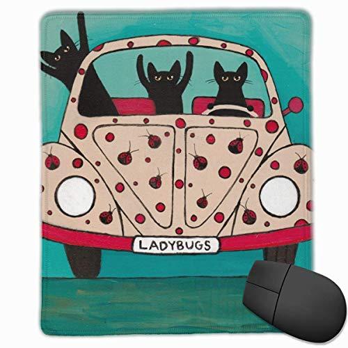 Schwarze Katze Auto Marienkäfer Nette Tiere Maus Matte Nettes Mauspad Gummibasis Mousepad mit genähter Kante Wasserdichtes Büromauspad