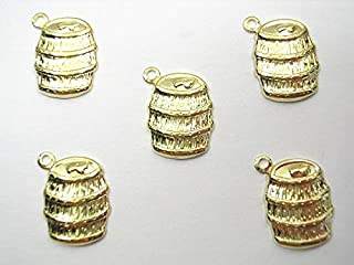Boutique d'isacrea LOT 5 Charms Metal Doré : tonneau 15 mm - Pendentif décoratif en métal - DIY pour embellissements de Bi...