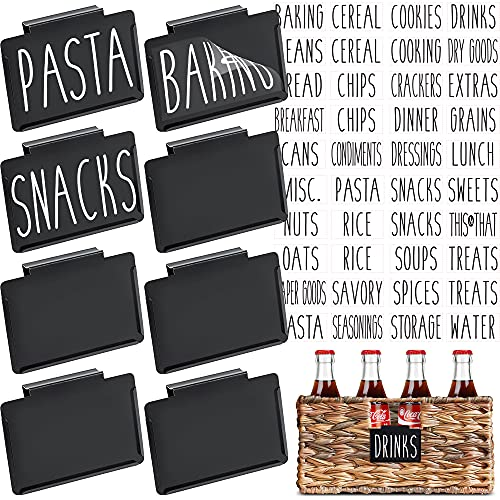 Talented Kitchen 8 Black Label Holders, Basket Labels Clip On with 40 White Pantry Labels. Removable Bin Clips Labels for Baskets. Pantry Organization and Storage Basket Label Holders for Storage Bins