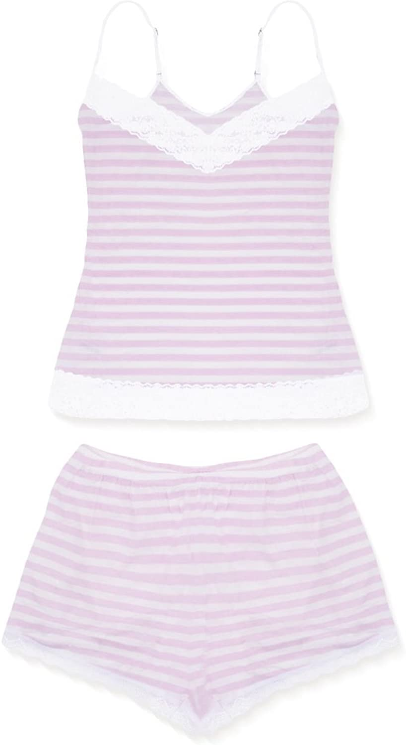 Cheekfrills Women's Candy Stripe Camisole and Bed Shorts